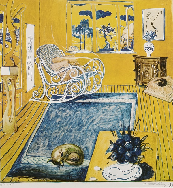 """The Cat"" in 1980 by Brett Whiteley. Offset lithograph. Photo: Wendy Whitely, via Menzies catalogue."