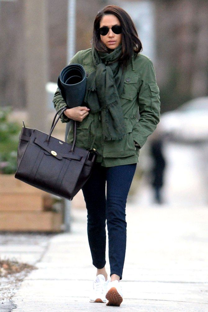 9e58b1c66b5 Meghan Markle street style utility jacket and tote
