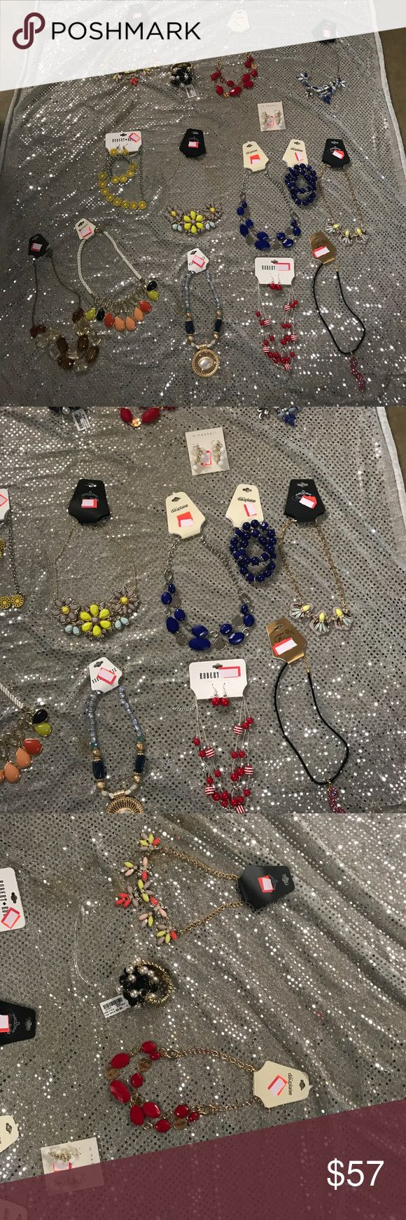 Huge huge new wth tags quality Jewerly lot (20) pc Get this entire lot of quality necklaces n sets most retail from 8-14 each there is over (20) items here that's great 😁 resale money 💰 or great coworker gifts lol or flea market resale items or etsy etc all new wth tags fashion lot Jewelry