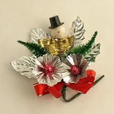 Vintage Christmas Corsage - Back in the day, these were the height of fashion to wear during the holidays. Ladies pinned them on their winter coat lapels when they went to church (and stored them to use year after year).