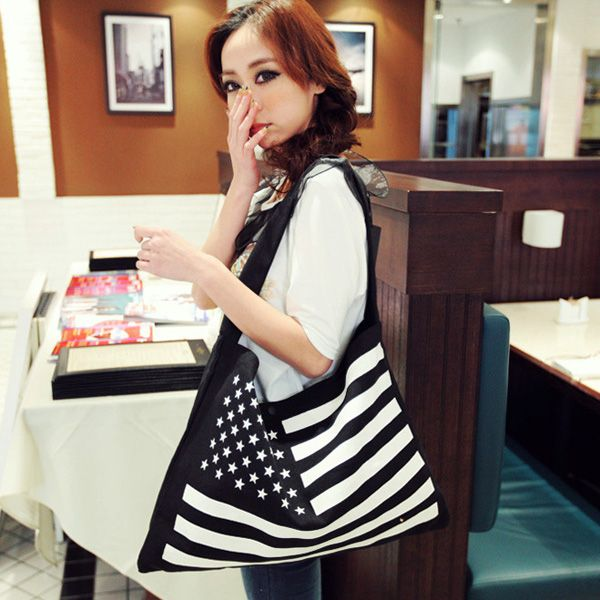 Casual Canvas National Flag Women Handbag