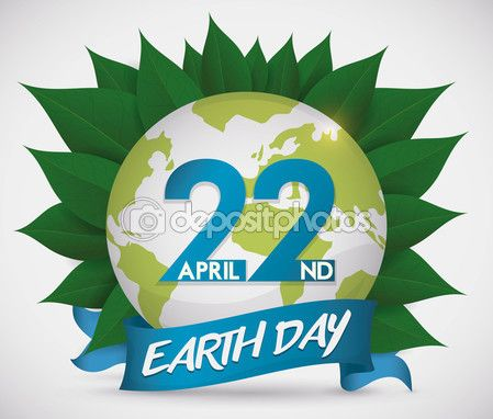 Commemorative Design for Earth Day with Globe over Leaves