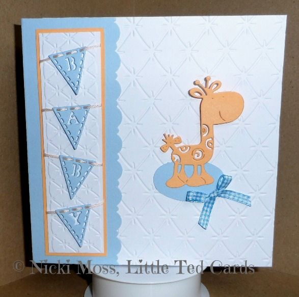 """Made by Nicki Moss - """"A card for a new baby boy, made using a Quilted Cushion embossing folder, Alphabet Bunting and Baby Elephant dies."""" #tatteredlace #cardmaking #newbaby"""