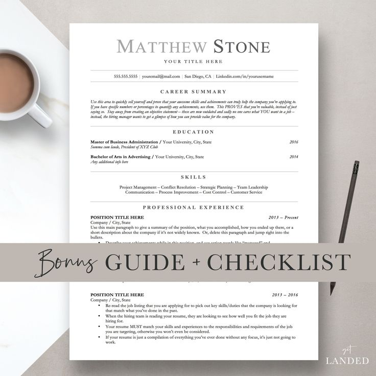 ATS Friendly Resume, Minimalist Resume Template for Word