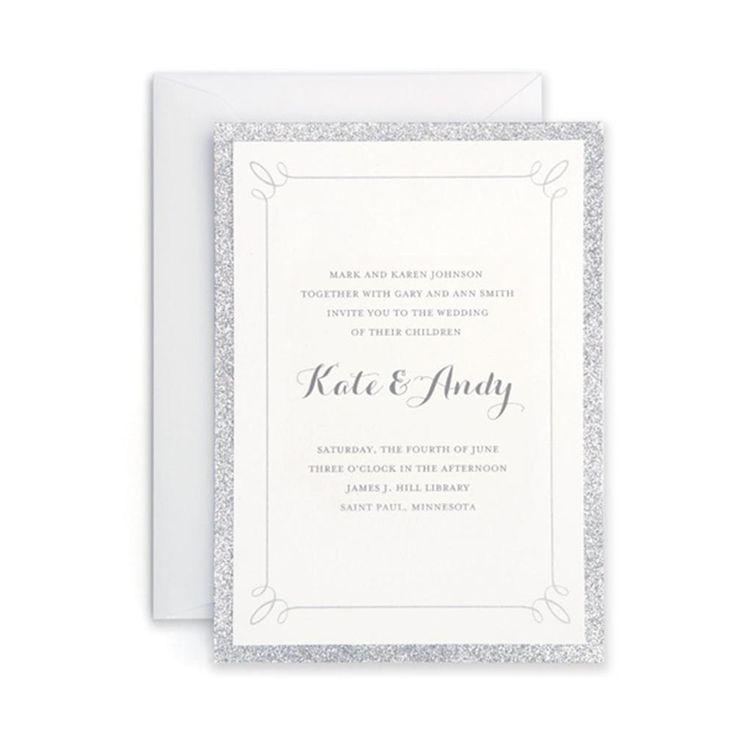 Silver Glitter Invitations (Case of 25) (Customizable Invitation), White (Paper)