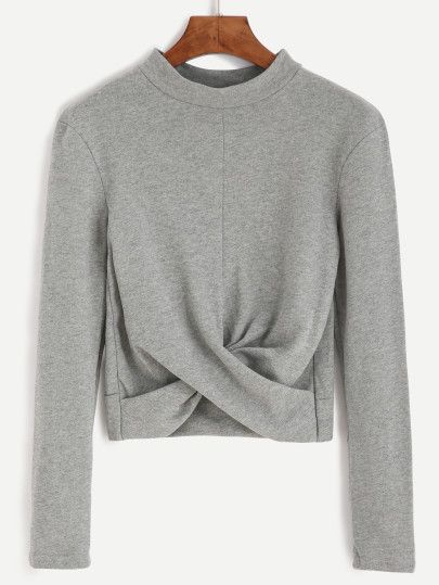 Grey Mock Neck Twist Front Crop T-shirt -SheIn(Sheinside) Mobile Site