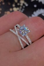 925 Silver White Sapphire Cross Ring Engagement Wedding Jewelry Rings For Women