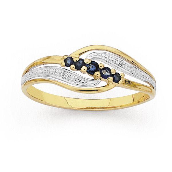 9ct Sapphire & Diamond Ring