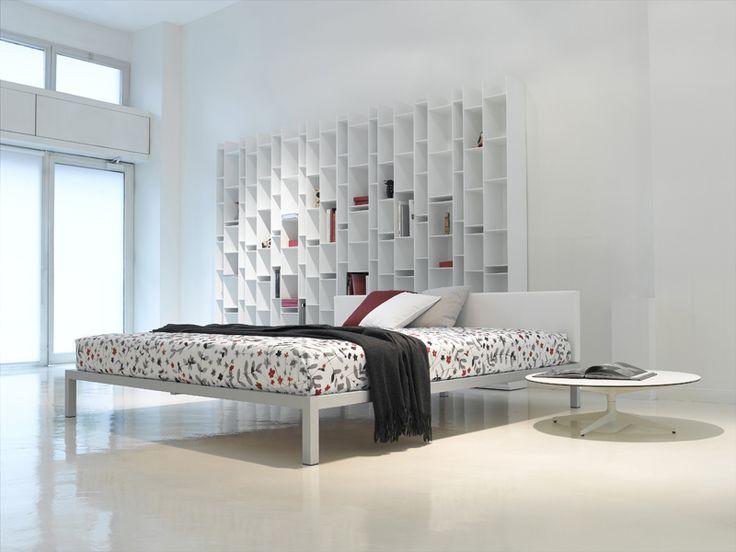 Aluminium bed with upholstered headboard ALUMINIUM BED SOFT - MDF Italia