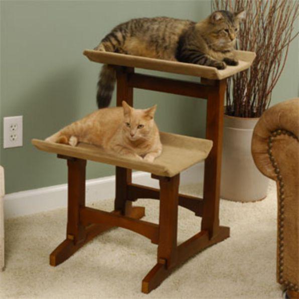 New Mr Herzhers Craftsman Series Early American Brown Double Seat Cat Perch Oak    eBay