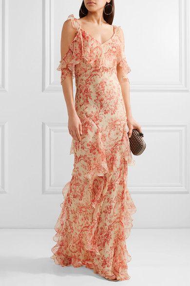 Vilshenko - Ladonna Cold-shoulder Ruffled Printed Silk-georgette Gown - Red