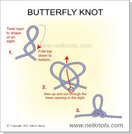 Use the Butterfly Knot to make a loop in the middle of a rope.  Useful for rigging.