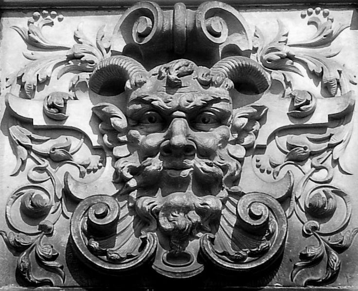 SchaumburgerGreenMan_bw · Man FacesStone CarvingGreen ManLower SaxonyMask  IdeasMother EarthGarden ArtPaganGermany
