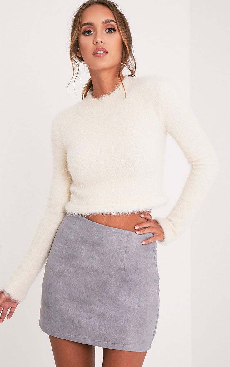 Lauree Grey Faux Suede Mini Skirt Image 1