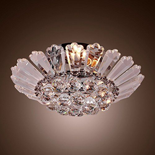YL Modern Semi Flush Mount in Crystal Feature Ambient Light Ceiling Light Fixture For Dining Room Bedroom Living Room *** Check this awesome product by going to the link at the image.