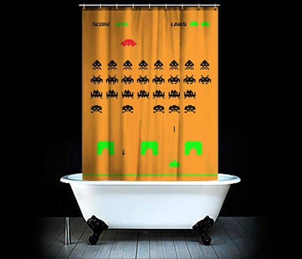 Cortina De Baño Original:Space Invaders Shower Curtain