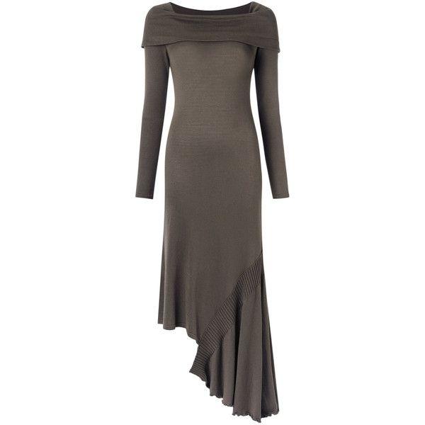 Mara Mac asymmetric long dress ($438) ❤ liked on Polyvore featuring dresses, grey, gray long sleeve dress, gray dresses, straight dress, long dresses and long rayon dress