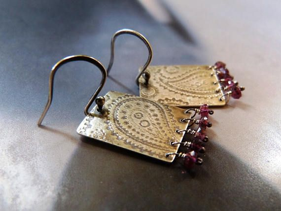 Paisley textured earrings with tourmaline silver earrings