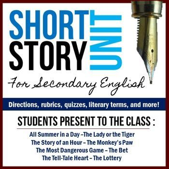 $ - Make students do the work in your next short story unit! Small groups take turns reading & presenting classic stories and literary terms to the class.