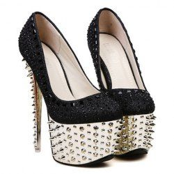 $21.41 Party Women's Pumps With Sexy Gold High Heels and Rivets Design