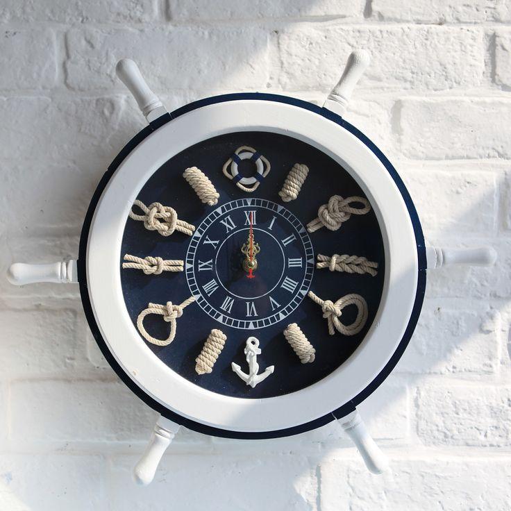 Log handmade 45cm rudder clock muons wood-rudder wall-clock rudder-decoration large wall clock home decor