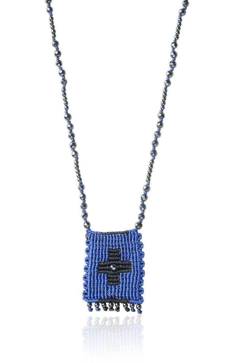 Zoe Kompitsi | Royal Blue Rectangle Cross Necklace