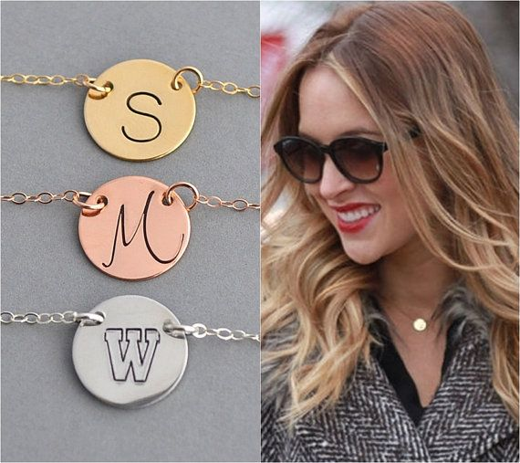 Disc Necklace / Personalized Necklace / Initial Necklace / Silver, Gold, Rose Gold Disc Necklace / Minimal Necklace /Personalized Disc by malizbijoux. Explore more products on http://malizbijoux.etsy.com