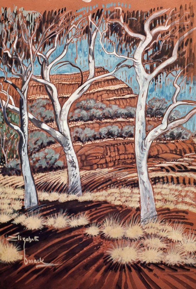 Happiness is wild park-land, 1976, Elizabeth Durrack, gouache on paper, 55x44cm, private collection