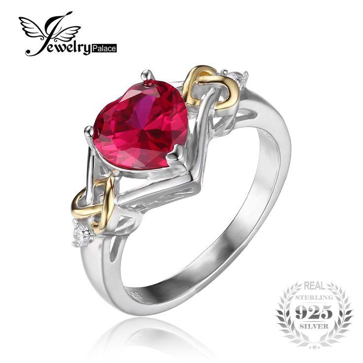 Jewelrypalace liebe knoten herz 2.5ct erstellt roter rubin jahrestag versprechen ring 925 sterling silber 18 karat gelbgold frauen mode