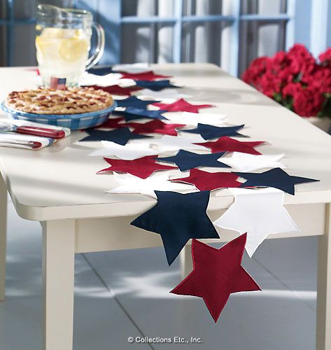 Easy:  Sew fabric or felt stars together to make pretty table runner for any patriotic holiday