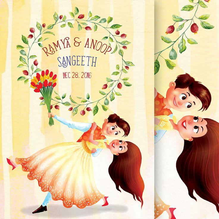 Sangeeth card design from #sporgstores #weddinginvitation #illustratedweddingcards #caricatureweddingcards #southindianwedding #indianwedding #sangeethcarddesign