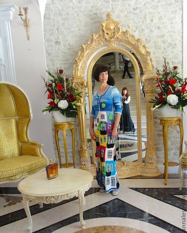 """Купить Летнее платье """"Хундертвассер"""" - рисунок, Анна Лесникова, трикотаж от кутюр, высокая мода, от кутюр"""
