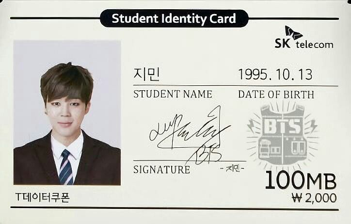 Bts Jimin Student Identity Card Sk Telecom Bts Kartu Belajar Bingkai Foto
