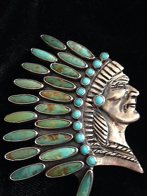 Great Sterling & Turquoise Indian Head Pin Pendant by J Forks
