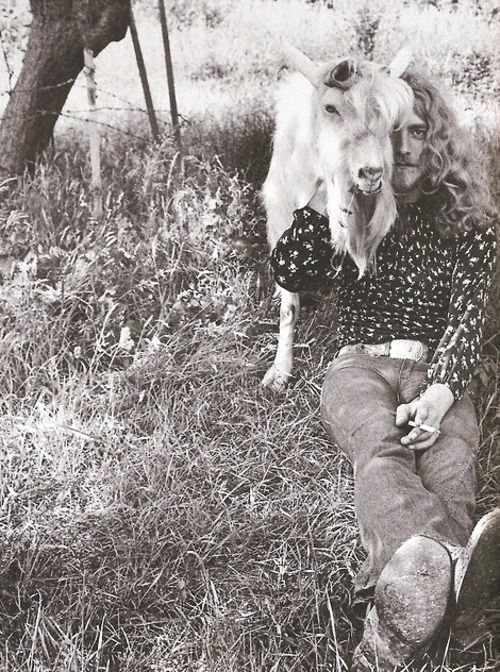 countrydarlin:    A picture of Robert Plant with a goat…. made my day.