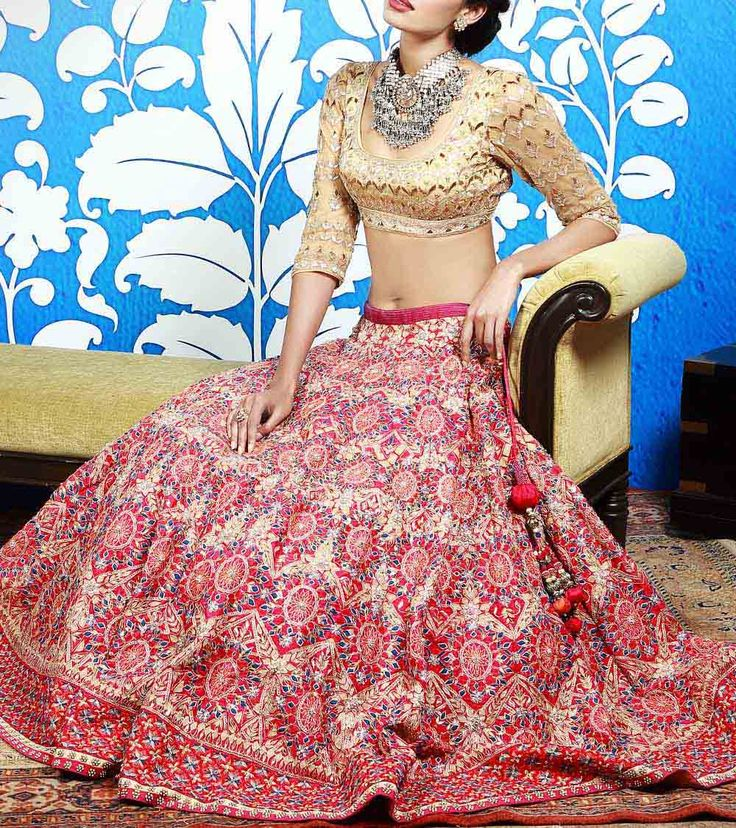 #Pink & #Gold Dori Embroidered #Silk #Lehenga #Set With Gota Patti by #Anita #Dongre