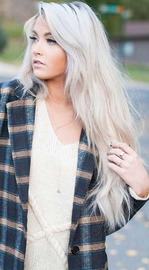 White Blonde Long Hair with Layers
