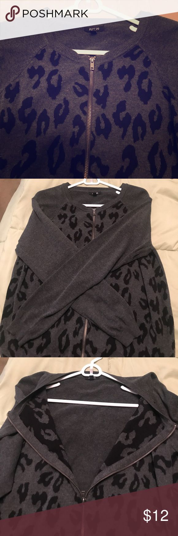 Apt. 9 Grey & Black Zip Leopard Print Sweater! Apt. 9 Grey & Black Zip Leopard Print Sweater! Full zip open/close. Silver zipper. Long sleeve. Worn a handful of times. No stains or tears. Size Women's XL. Soft and perfect for cooler weather. Dress up or down! Print is only on front of sweater. Not sleeves or back! Apt.9 Sweaters Cardigans