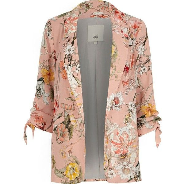 River Island Pink floral ruched sleeve blazer ($120) ❤ liked on Polyvore featuring outerwear, jackets, blazers, blazer, coats / jackets, pink, women, floral print jackets, blazer jacket and pink blazer jacket