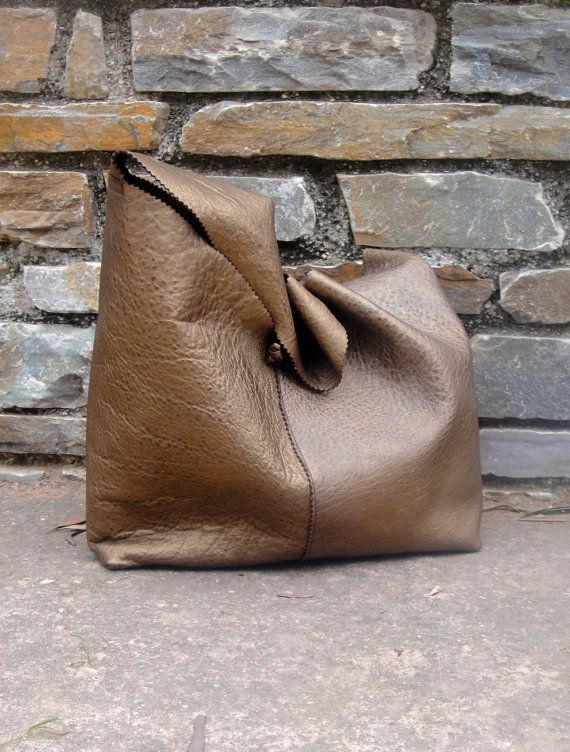 Gold-bronze leather handmade boho bag by byCACHE on Etsy