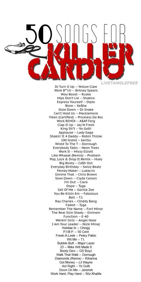 The Ultimate Cardio Playlist! Great music for some great motivation to keep you going every step of the way! All you need now are some tangle free earbuds! #LiveTangleFree