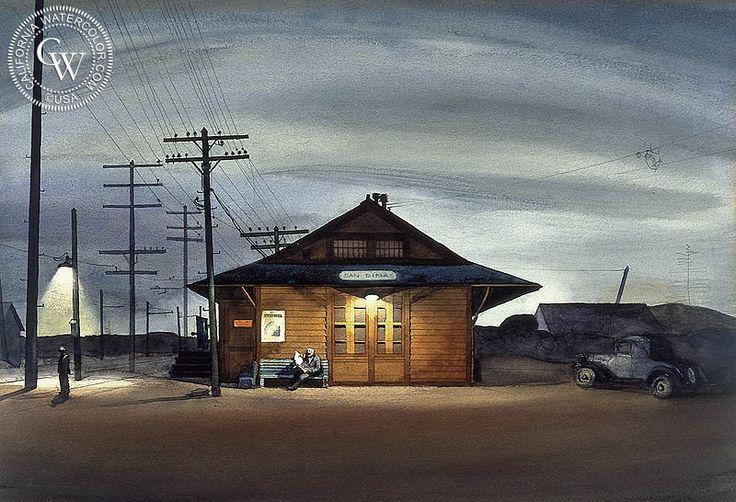 Millard Sheets - San Dimas Train Station, 1933 - California art - fine art print for sale, giclee watercolor print - Californiawatercolor.com