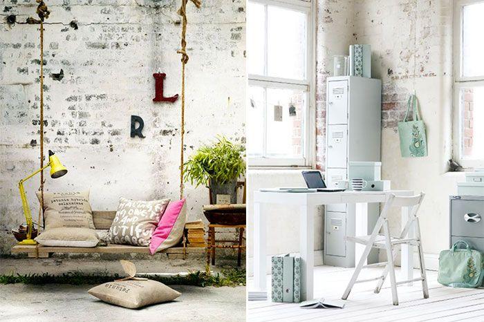 mur en brique peint de mani re un peu pass e d coration. Black Bedroom Furniture Sets. Home Design Ideas