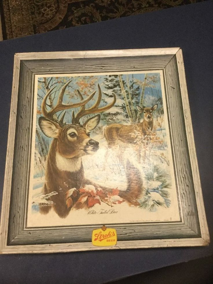 Stroh's Bohemian Beer Vintage Cardboard Sign Picture 1973 White Tailed Deer  | eBay