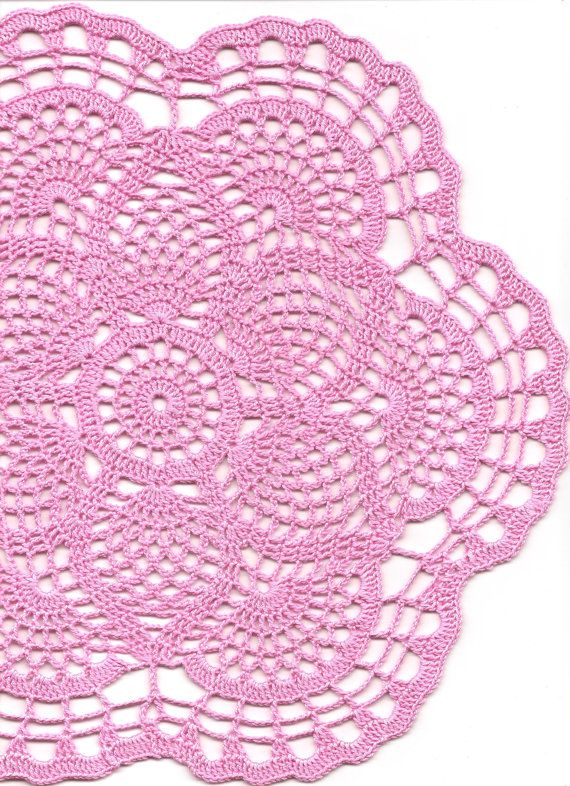 Crochet doily, lace doily, table decoration, crocheted place mat, center piece, doily tablecloth, weddings, napkin, pink, handmade doilies