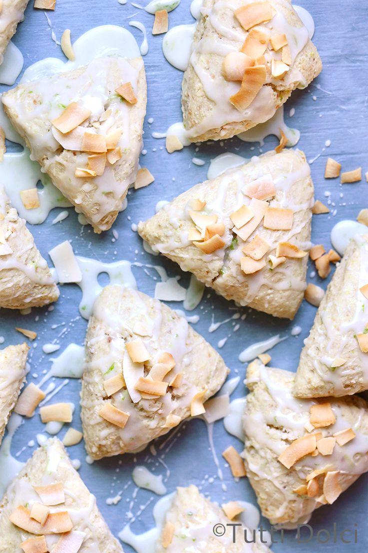 Coconut Cream Scones with Lime Glaze (dairy-free, vegan)