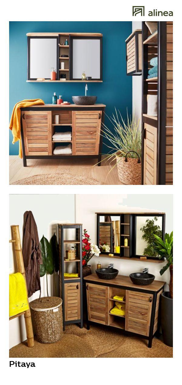 alinea  pitaya meuble de salle de bains en acacia massif 120cm
