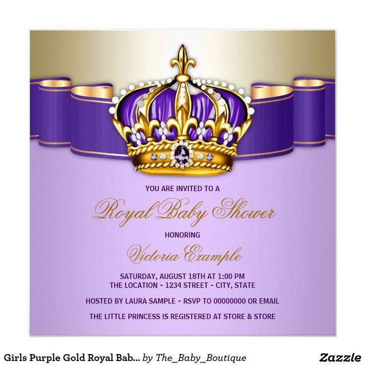 Girls Purple Gold Royal Baby Shower Invitation Girl Baby