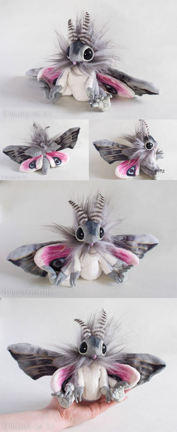 Available here Every moth I make has a slightly different character, Smerinthus is very alert, curious and gentle.This grey and pink moth art doll has been lovingly hand made from start to finish. ...