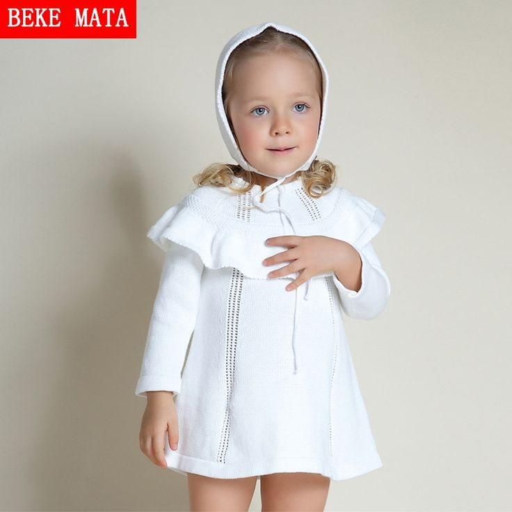 11.63$  Watch now - http://aliu7r.shopchina.info/go.php?t=32798745340 - BEKE MATA Baby Girl Sweater Dress Winter 2016 Full Sleeve Kid Princess Dresses For Girls Hooded Shawl Knitted Toddler Girl Dress  #aliexpressideas